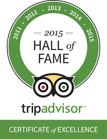 TripAdvisor Hall of Fame Certificate of Excellence