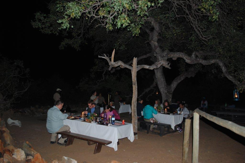Guests enjoying the Marula Tree Boma bush braai