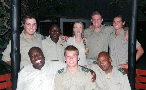 Guides and trackers based at Tremisana Lodge Back : Wesley, Texson, Vicky, Luke and Christopher Front : Bongani, Pieter and Elvis