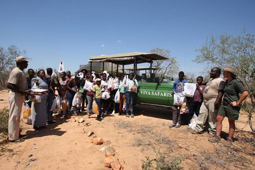 Group with gifts at Marula Boma.