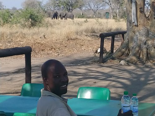 Patrick having a break at Mudzanzeni Picnic Spot.