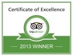 TripAdvisor Certificate of Excellence 2013 - Tremisana Game Lodge