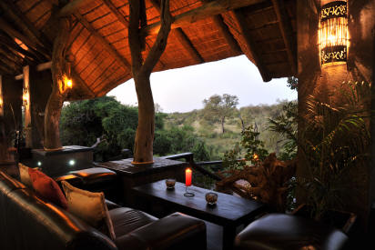 Lounge deck overlooking waterhole at Ezulwini