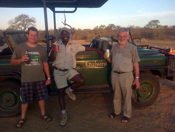 Fr Herman and Stephen with guide Lorence about to go on a game drive at Ezulwini