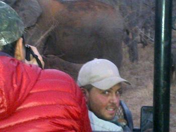 Wesley, close and comfortable with elephants near Tremisana Dam