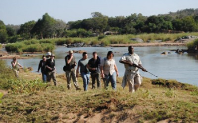 Bongani leads a focussed group on a walk along the banks of the mighty Olifants River.