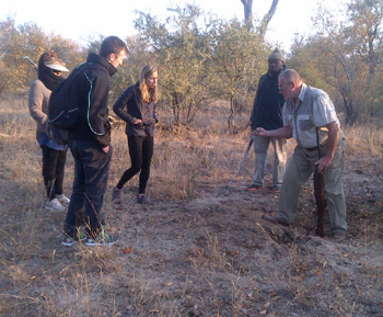 Highly experienced Wynand Britz points out interesting feature during Bush Walk.