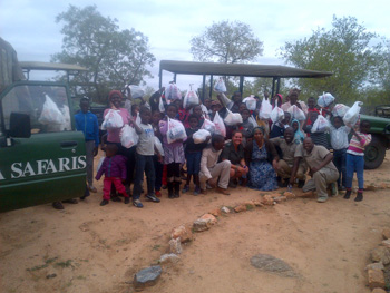 Orphans with goodies from Pick n Pay at Marula Boma
