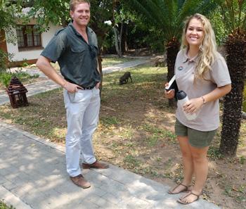 Zanelle and Luke with baby warthog at Tremisana Lodge.